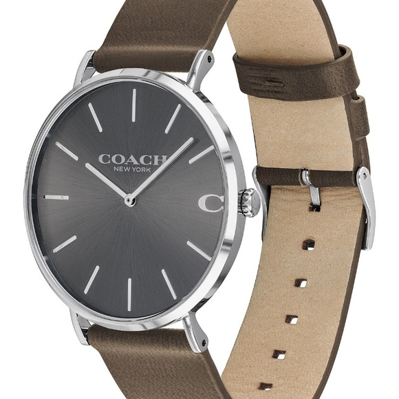 d6a430514a 🎄SALE🎄NEW Coach Mens Fatigue Leather Strap Watch NWT